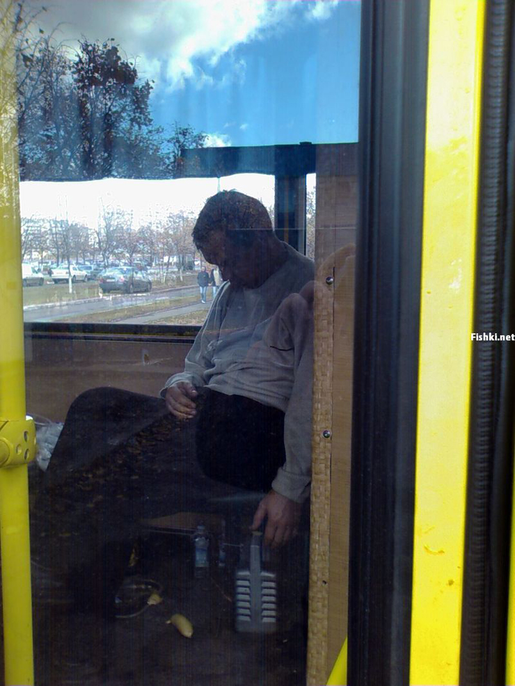 Russian driver sleeps in bus 9