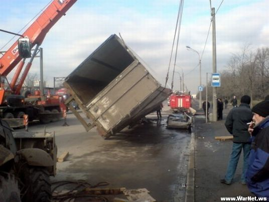Russian car lada smashed by truck 2