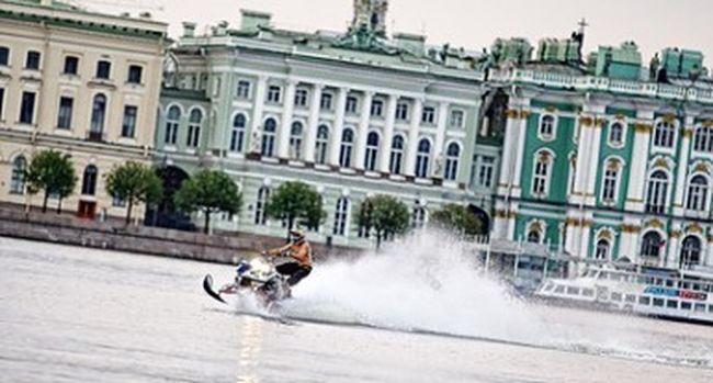 Snowmobile River Riding