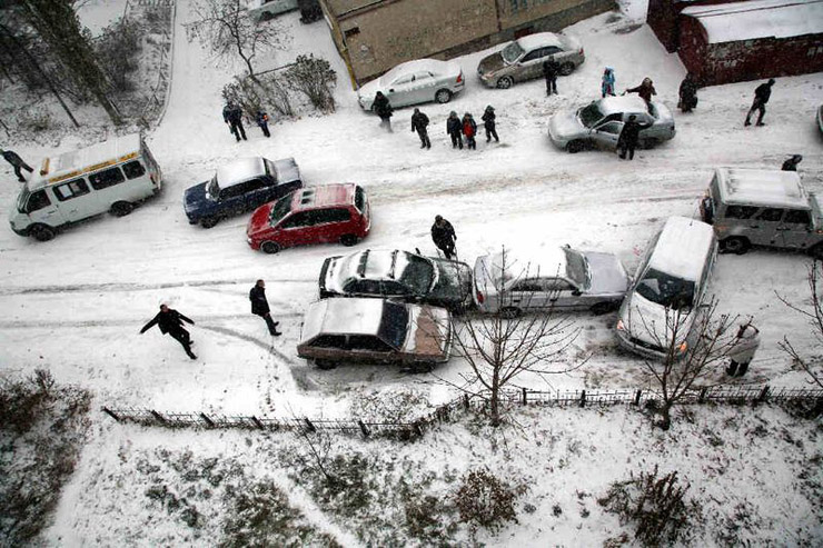 three cars crashed in Moscow 1