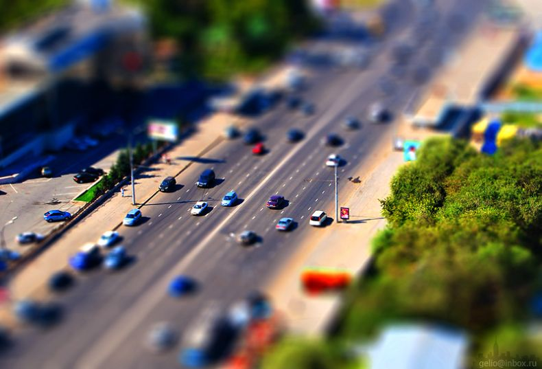Tilt shift photos of Novosibirsk, Russia