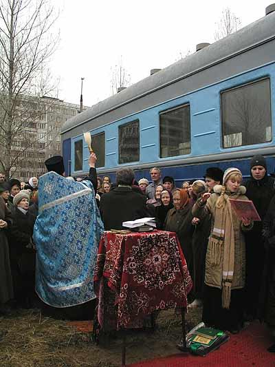 Russian church in old railway car 10