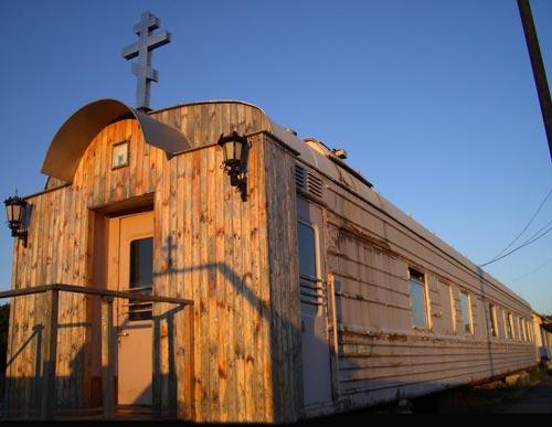 Russian church in old railway car 6