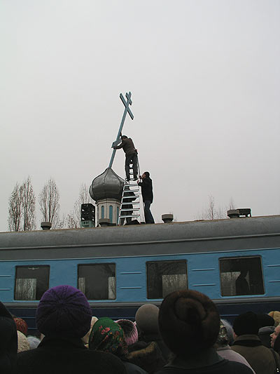 Russian church in old railway car 8