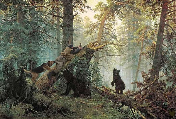 Dogs climb trees in Russia 2