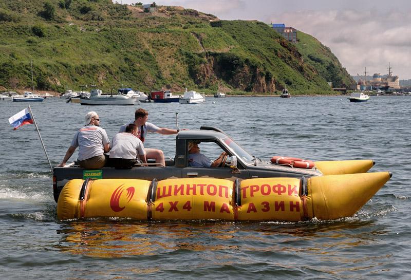 Russian truck goes boat