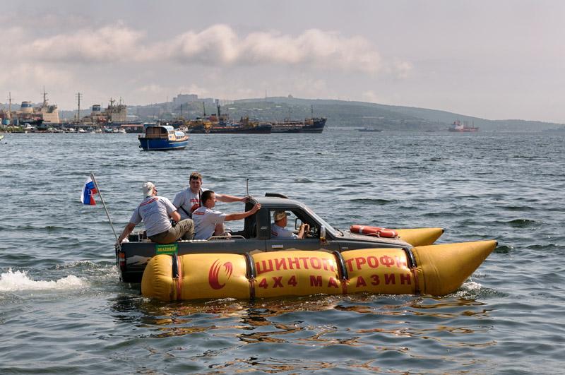 Russian truck goes boat 6