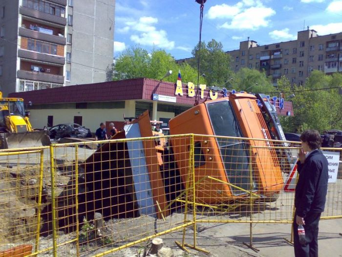 russian truck felt in the hole 2