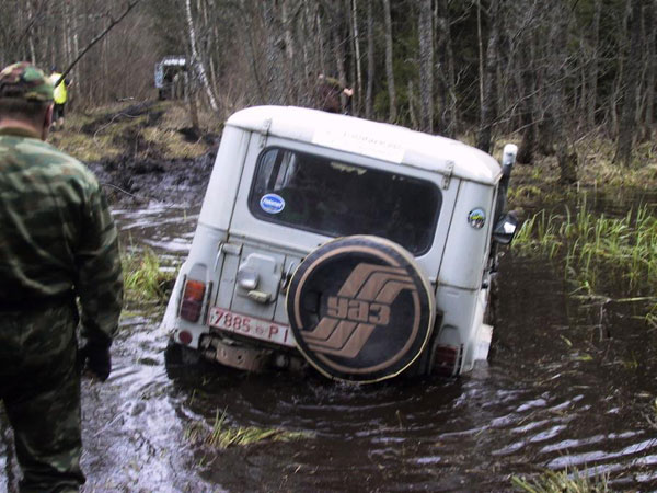 UAZ car with tracks instead of wheels in Russia 1