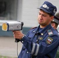 Russian Road Police GAI GIBBD with a speed radar