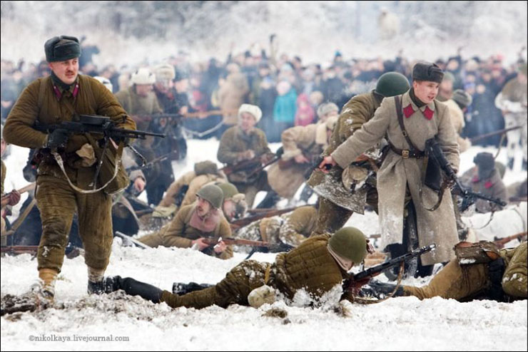 guys dressed in world war suites near Leningrad 1