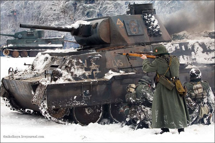 guys dressed in world war suites near Leningrad 20