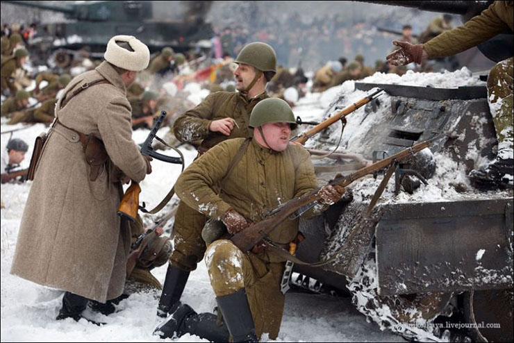 guys dressed in world war suites near Leningrad 26