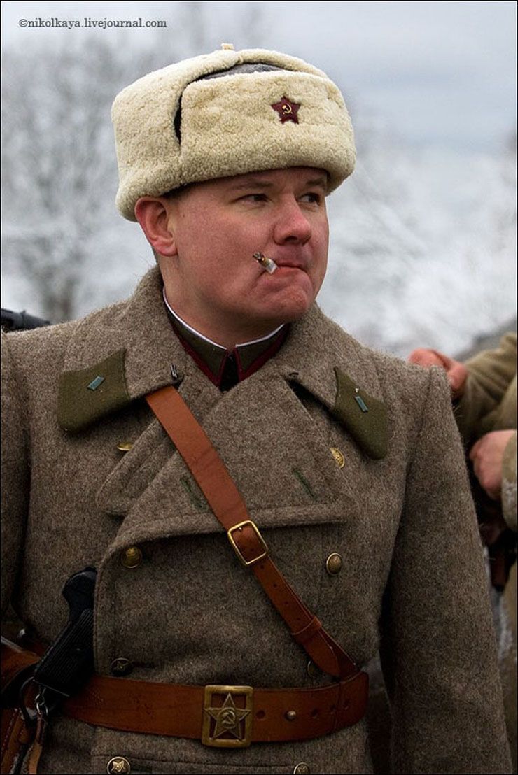 guys dressed in world war suites near Leningrad 35
