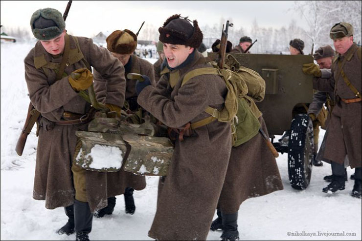 guys dressed in world war suites near Leningrad 7