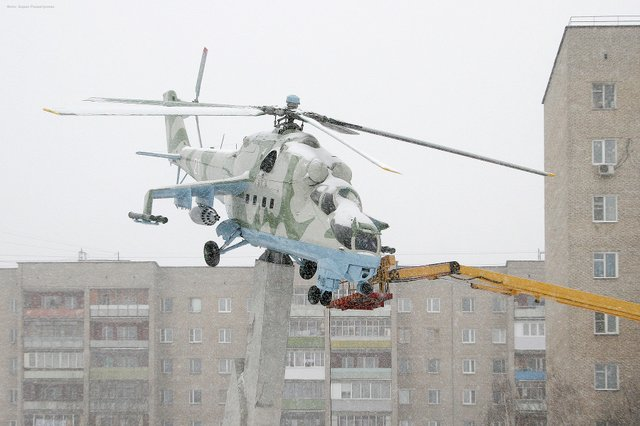 helicopter at winter in Russia 2