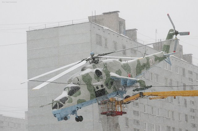 helicopter at winter in Russia 3