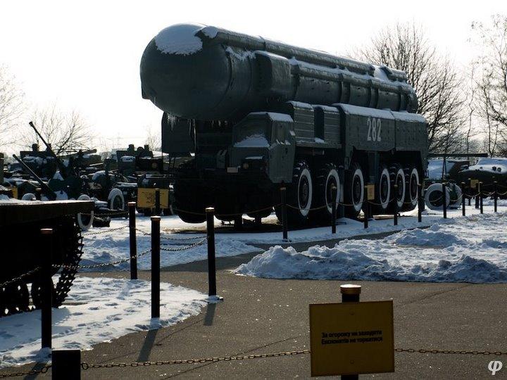 Russian armaments in museum in winter 1