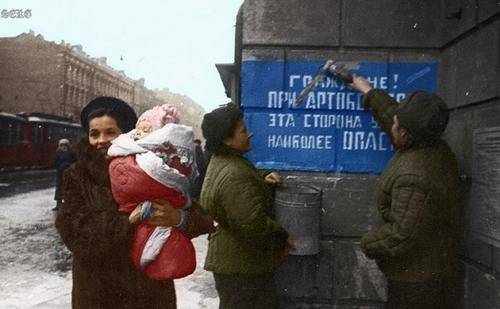Russian soldiers during World War 2, color photo 16