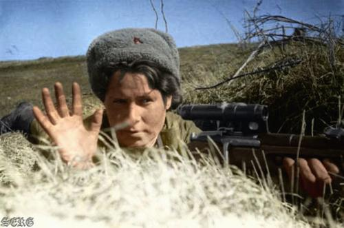 Russian soldiers during World War 2, color photo 2