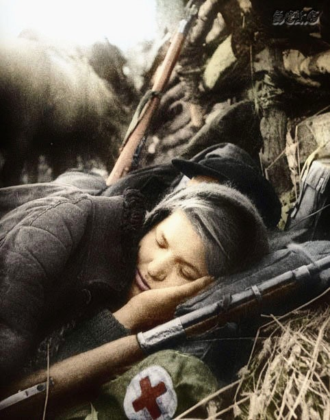 Russian soldiers during World War 2, color photo 30