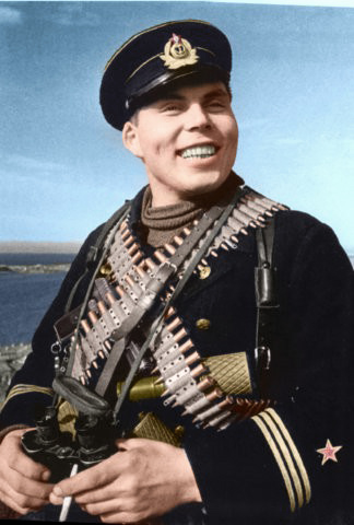Russian soldiers during World War 2, color photo 36