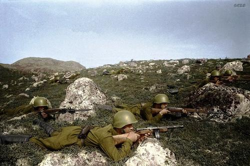 Russian soldiers during World War 2, color photo 5