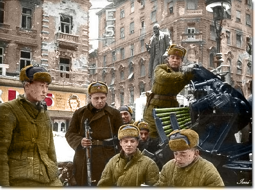 Russian soldiers during World War 2, color photo 53