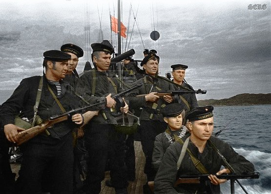 Russian soldiers during World War 2, color photo 56