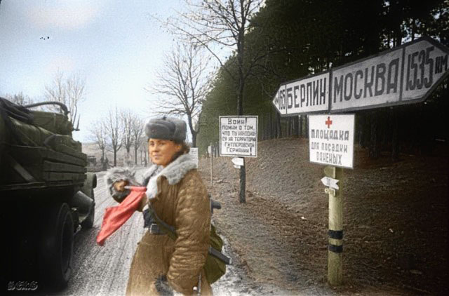 Russian soldiers during World War 2, color photo 61