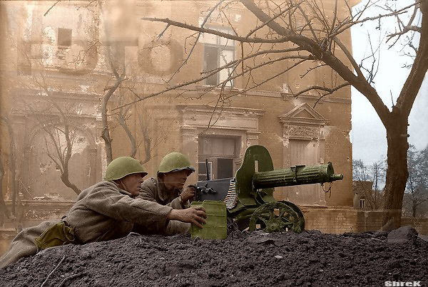 Russian soldiers during World War 2, color photo 65
