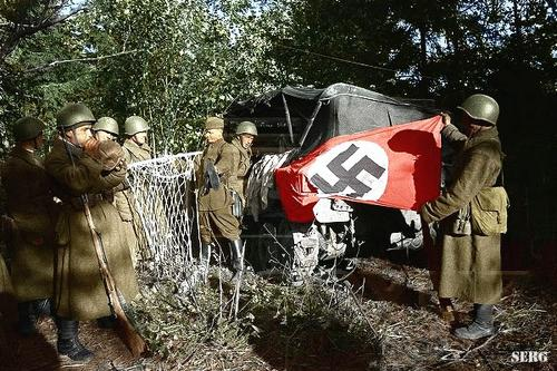 Russian soldiers during World War 2, color photo 71