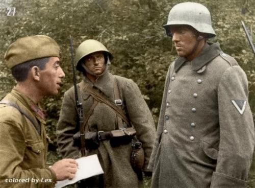 Russian soldiers during World War 2, color photo 74