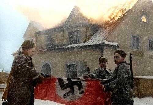 Russian soldiers during World War 2, color photo 76