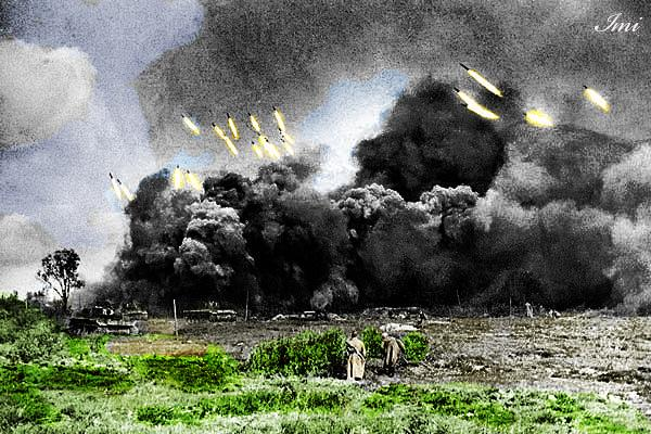 Russian soldiers during World War 2, color photo 78