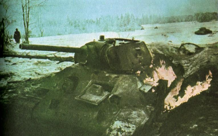 Russian soldiers during World War 2, color photo 82