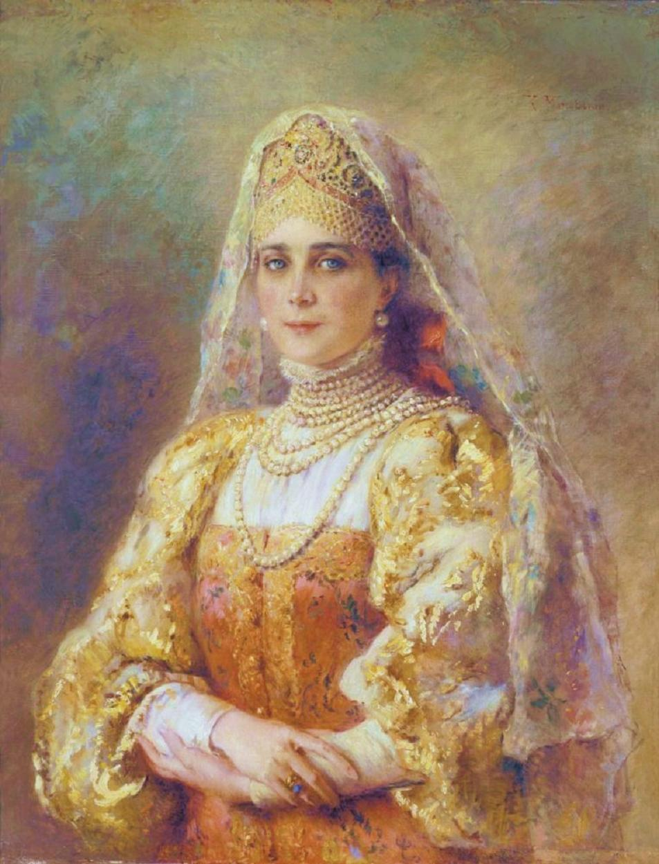 konstantin-makovsky-a-portrait-of-princess-zinaida-yusupova-in-old-russian-dress-1895