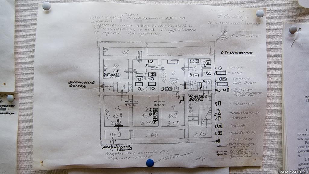 Прочая документация размещена вместе с планом убежища на одной из стен