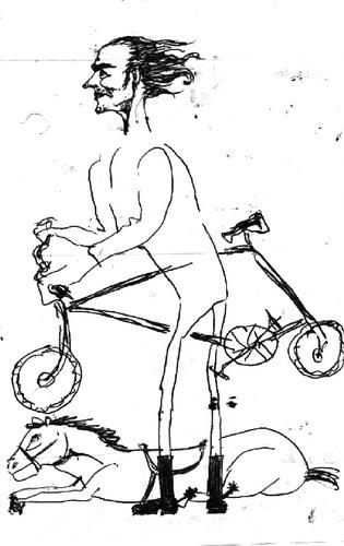 cavalo + bicicleta + homem