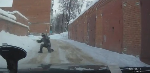 Video: Weird Pedestrian Gives Way to the Car