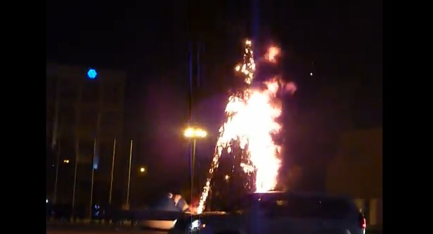 Christmas Tree All In Flames