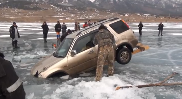Triumph of the Russian Wit Or How to Pull A Car From the Frozen Water