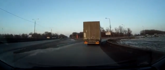 Truck Loses Trailer