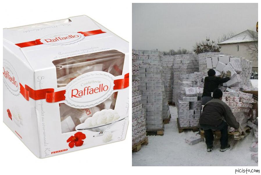 Bulldozer Destroys Expired Raffaello Candies