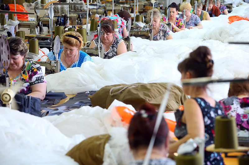 Russian Parachute Making Factory