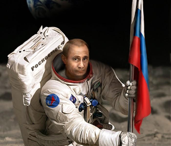 Фото космонавтов с российским флагом