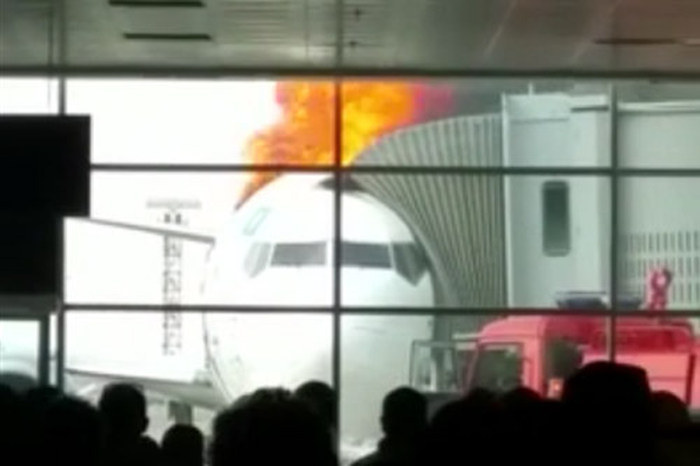 Plane Caught Fire while at Gate in Kazakhstan Airport