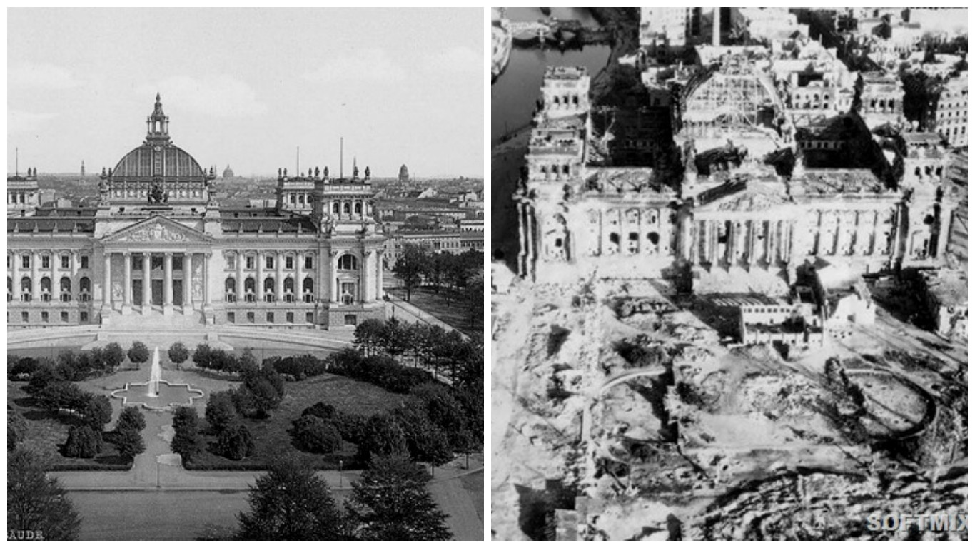 German Reichstag Building Before and After