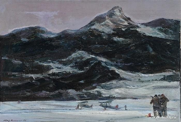 Нисский Георгий Григорьевич (Россия, 1903-1987) «Самолеты в горах« 1934