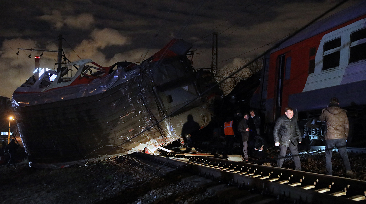 Two trains collided in Russia tonight